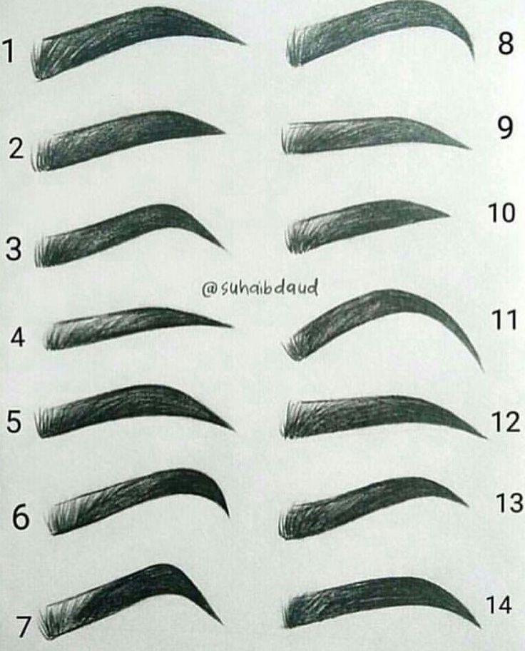 Verschiedene Augenbrauen zeichnen