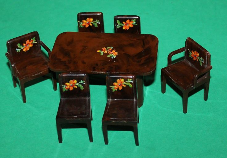 Vintage Dolls House Codeg Dining Table & Chairs | eBay