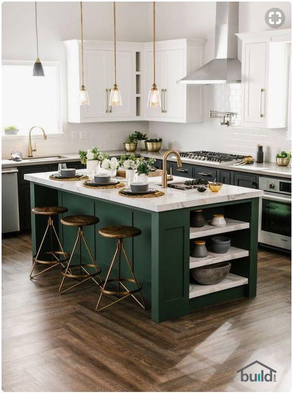 Updated Industrial Kitchen From Build Com Green Kitchen Cabinets Contrasting Kitchen Island Modern Kitchen Cabinets
