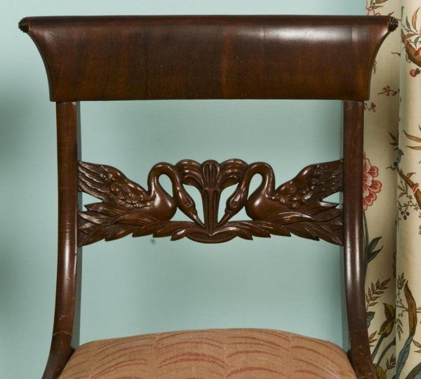 American Classical Carved Mahogany Side Chairs, 19th Century