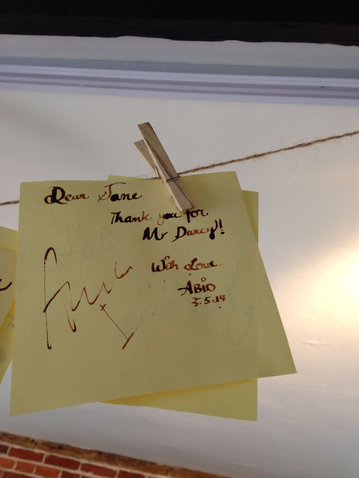 A thank you note to Jane Austen hanging at Chawton Jane Austen's house