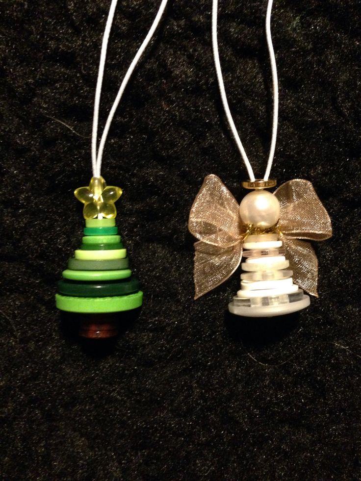 Halsband av knappar, gran och ängel Button ornaments, tree and angel
