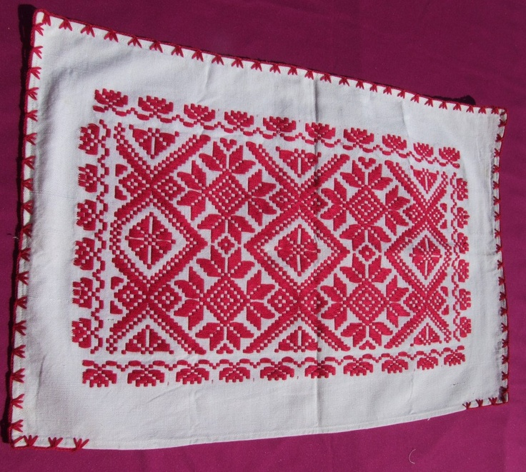 Woven pillow case with traditional Romanian motifs. $25.00, via Etsy.