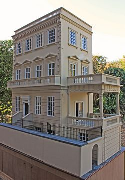 """Anglia Dolls Houses by Tim Hartnall - Ready to """"move in"""" Kensington house with large covered portico, balcony and wine cellar... click for more pics)"""