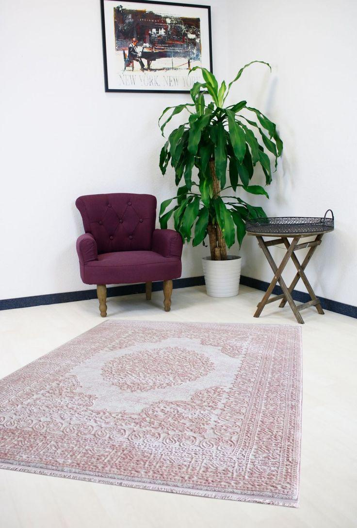 Designer Teppich Vintage Teppiche Rosa Design Velour Bordüre