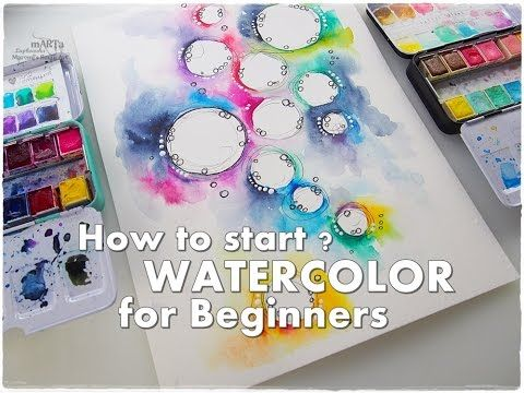 How to Start? How to Break a Blank Page? WATERCOLOR for Beginners ♡ Maremi&#39…