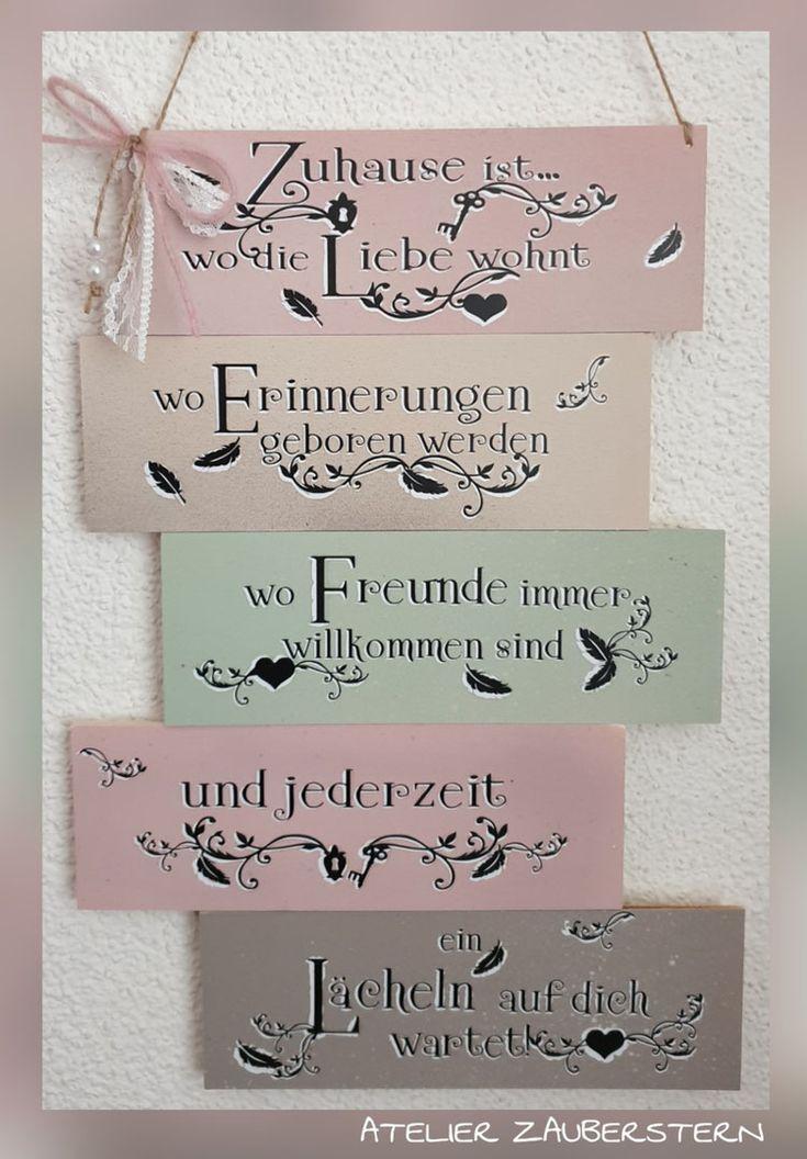 "Holzschild Mehrfarbig rosa  ""Zuhause"" Schrift schattiert"