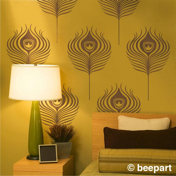 peacock feathers wall decals, art deco vinyl wall art set, vintage peacock wall cling, FREE SHIPPING by beepart on Etsy https://www.etsy.com/listing/60676572/peacock-feathers-wall-decals-art-deco