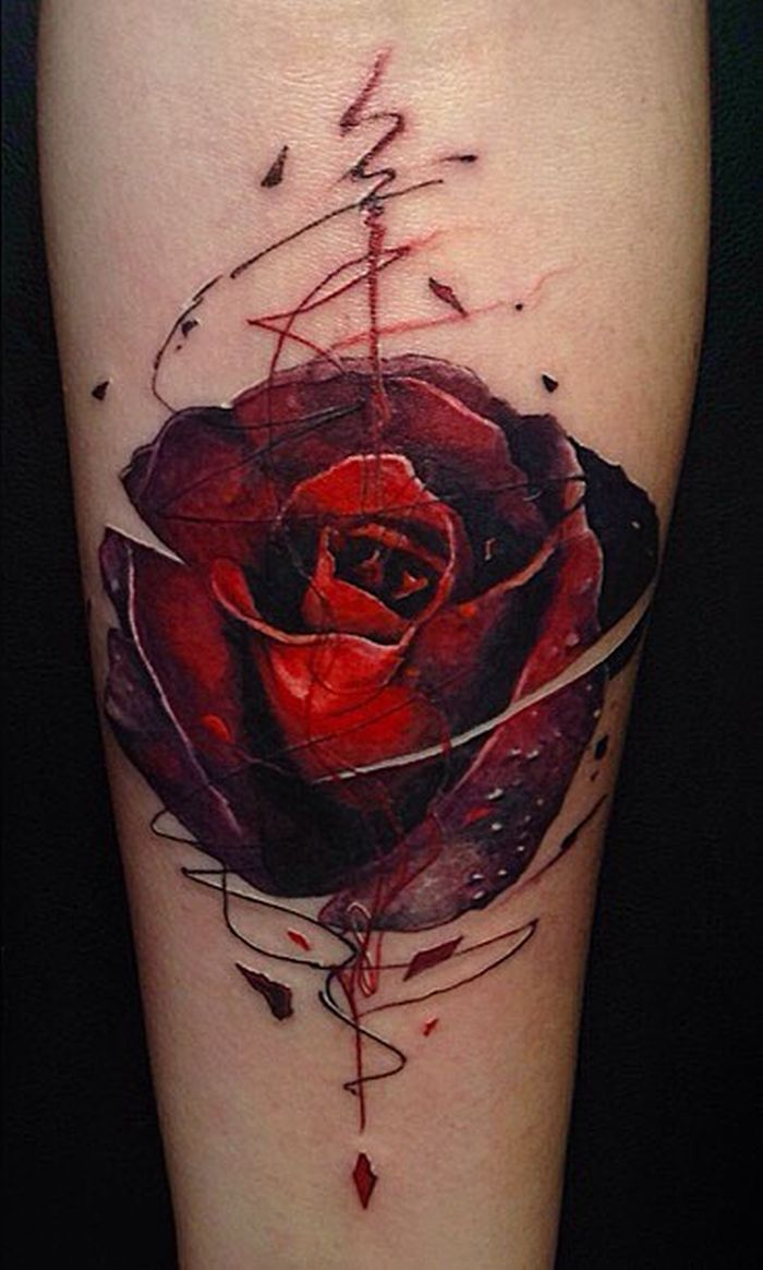 Abstract Rose Tattoo C Tattoo Artist Vlad Tokmenin Rose Tattoos For Men Red Flower Tattoos Cover Up Tattoos