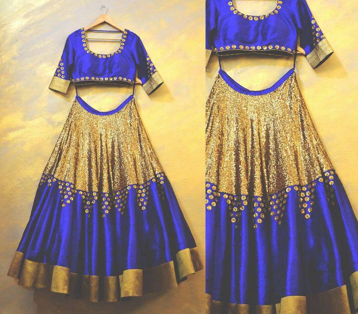 How to do gold and blue lehenga .#bridallehengasonline #lehengacholi