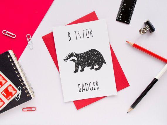 Badger Card. Animal Alphabet Card. 100% by DarwinDesignsCards