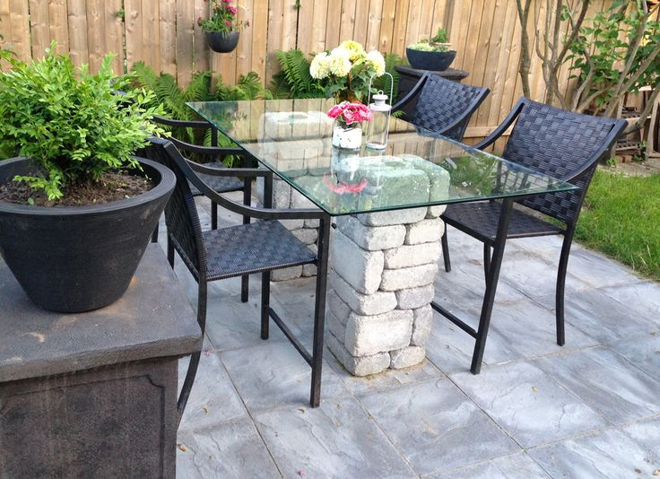 Leisbeth Made This Gorgeous Patio Dining Table Using Paver Stones And A Glass  Table Top.