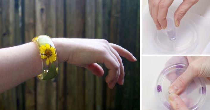 Kreatívny DIY nápad s návodom urob si sama ako si vyrobiť handmade živicový náramok s flitrami, korálkami či rastlinkami. Homemade, šperk, pre deti, postup