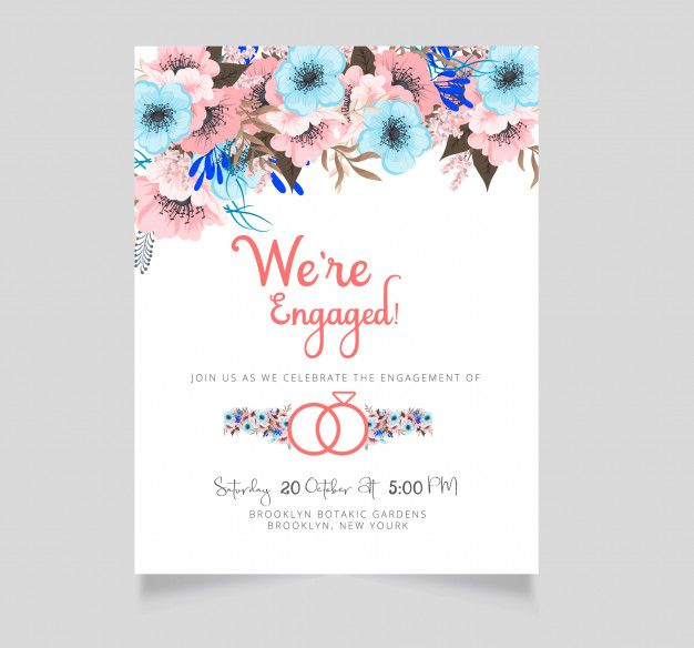 Flower Engagement Invitation Template Premium Vector