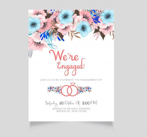 Flower Engagement Invitation Template Premium Vector