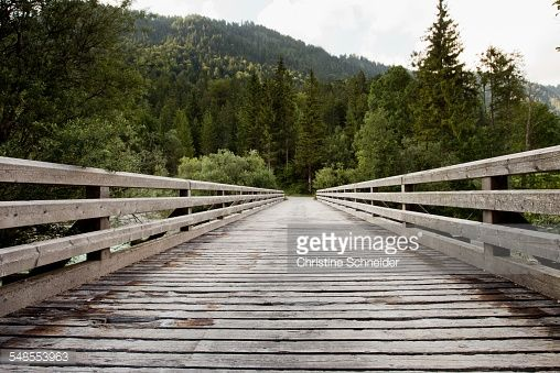 Stock Photo : Wooden footbridge, Sylvensteinspeicher, Bavaria, Germany
