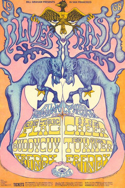 """""""1968 Blues Bash"""" Electric Flag/Buddy Guy/Freddie King/Blue Cheer/Ike & Tina Turner/Holy See, July 9 - 14, 1968 - Fillmore West (San Francisco, CA) Art ByLee Conklin."""
