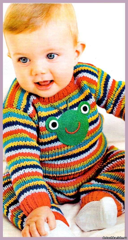 Полосатый костюм для малыша. Вязание для детей. - Вязание костюмов для мальчиков - Вязание мальчикам - Вязание для малышей - Вязание для детей. Вязание спицами, крючком для малышей