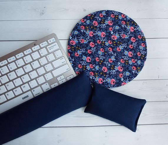 floral  Mouse pad set  mouse wrist rest keyboard rest mini  chic / cute / preppy / computer, desk accessories / cubical, office, home decor / co-worker, student gift / patterned design / match with coasters, wrist rests / computers and peripherals / feminine touches for the office / desk decor