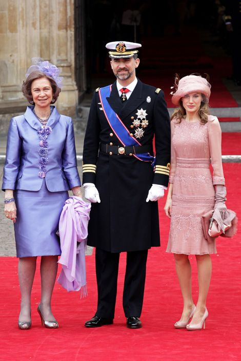 Queen Sofia, Felipe and Letizia, Prince and Princess of Asturias, Spain at the royal wedding of Prince William and Kate Middleton.