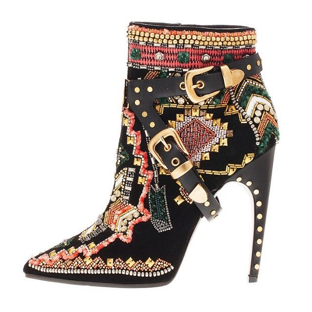 Emilio Pucci - Embroidered Boots - 2014 Fall-Winter, HT I think if I were  to walk in these most of the day, I would need a good man to massage my  feet!