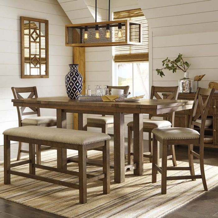 Moriville 6 Piece Counter Height Dining Set   Weekends Only Furniture And  Mattress