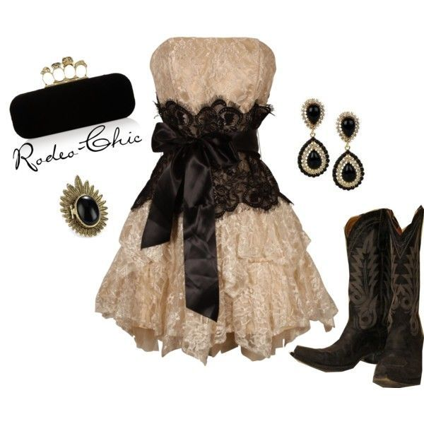 """Cowboys and Angels"" by rodeo-chic on Polyvore, strapless lace dress with cowboy boots, black and white, prom, western, formal by ila"