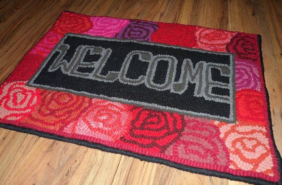 A Rosy Welcome - Primitive Hooked Rug on Etsy, $250.00 CAD