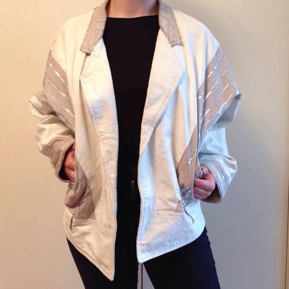 White 80's disco style leather jacket by TheFabulousAlbatross, $70.00