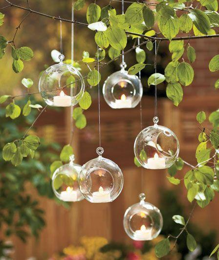outdoor wedding tea light glass - Google Search