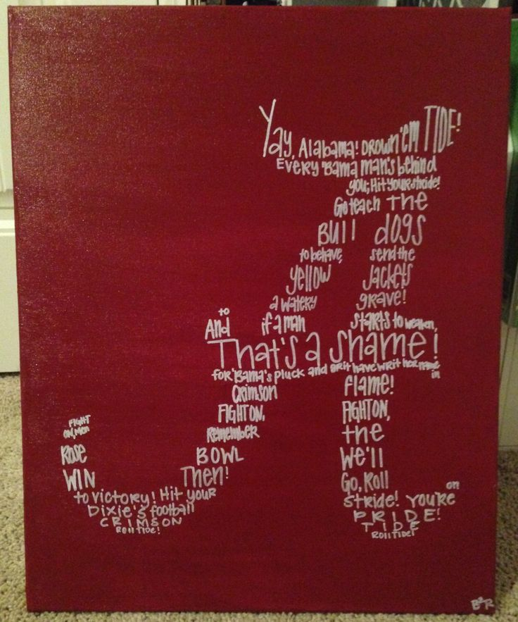 Alabama Fight Song Canvas by B2RStudio on Etsy https://www.etsy.com/listing/231307734/alabama-fight-song-canvas