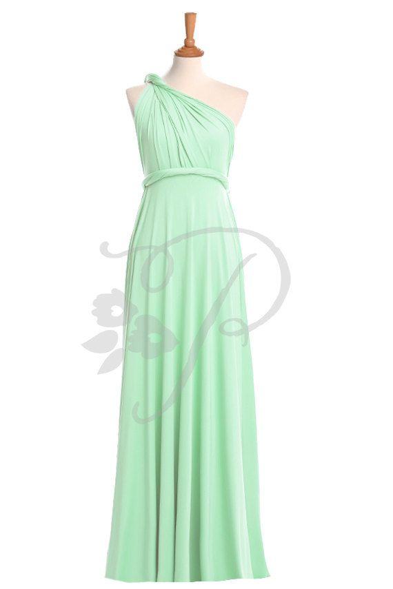 Bridesmaid Dress Infinity Dress Seafoam Green Floor Length Wrap Convertible Dress Wedding Dress