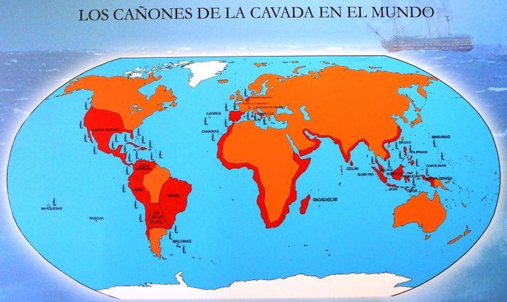Mapa de destino de los cañones fabricados en La Cavada