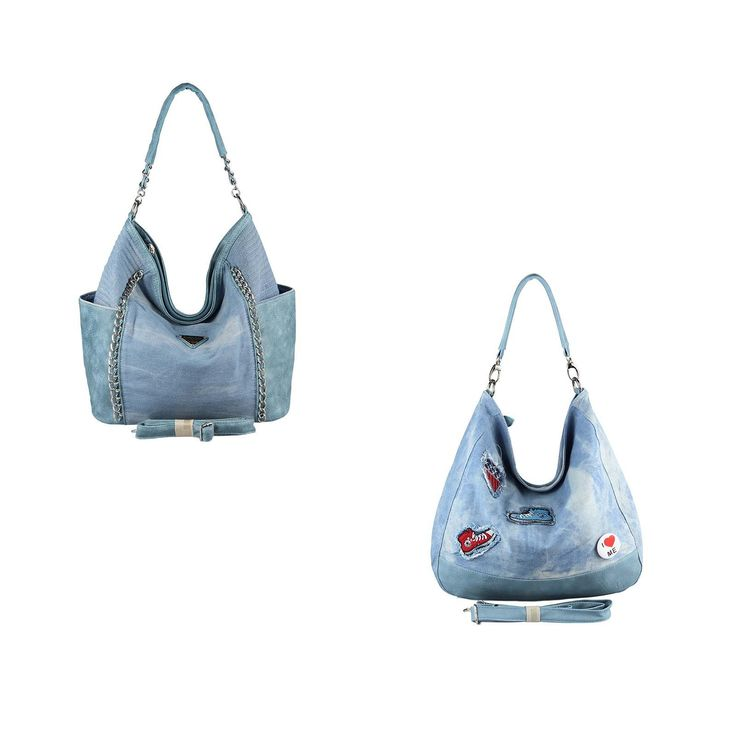 . OBC XXL DAMEN JEANS TASCHE Metallic Handtasche Schultertasche Hobo-Bag Kette Henkeltasche Bowling Beuteltasche Shopper CrossOver
