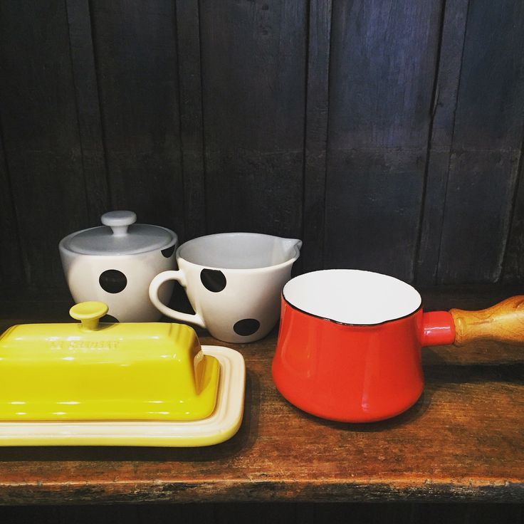 Hosting weekend brunch plans? Want to brighten up morning routines and weekday breakfast? Try serving it with the le Creuset butter dish in soleil yellow, or make delicious hot foamed milk for your coffee, lattes and cappuccinos with the Kobenstyle Butter warmer in red, or simply add sugar and cream to your morning coffee routine with the black and white polka dotted Kate Spade New York Milk and Sugar Set