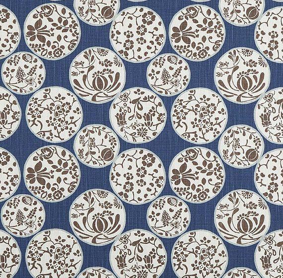 Designer Fabric by the Yard Regal Navy Home Decor Fabric Cotton Drapery Curtain or Upholstery Yardage Geometric Woodland Scandi Asian B163