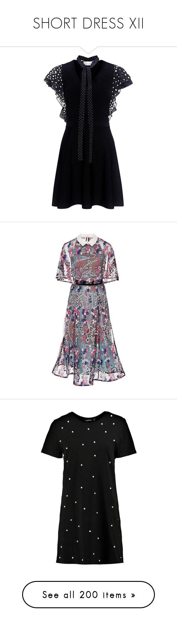 """SHORT DRESS XII"" by saska2000 ❤ liked on Polyvore featuring dresses, star dresses, slip on dress, ruffled-sleeve dresses, knit mini dress, fit flare dress, black, lace overlay dress, frill midi dress and tiered midi dress"