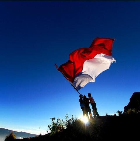 Indonesia Flag at Top of Semeru Mountain (mahameru)