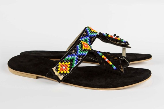 Jeweled leather sandal Africana - Rainbow colors