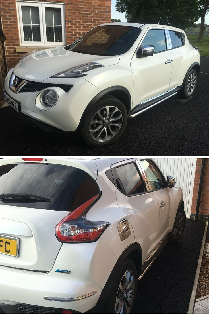 This Juke looks awesome with our sports tubes on. The chrome and stainless steel look great against the white - Available in black too with matching front chin bars.  #Nissan #Juke #Chromed #SideSteps #SportsTubes #Executive #GreatFeedback #HappyCustomers