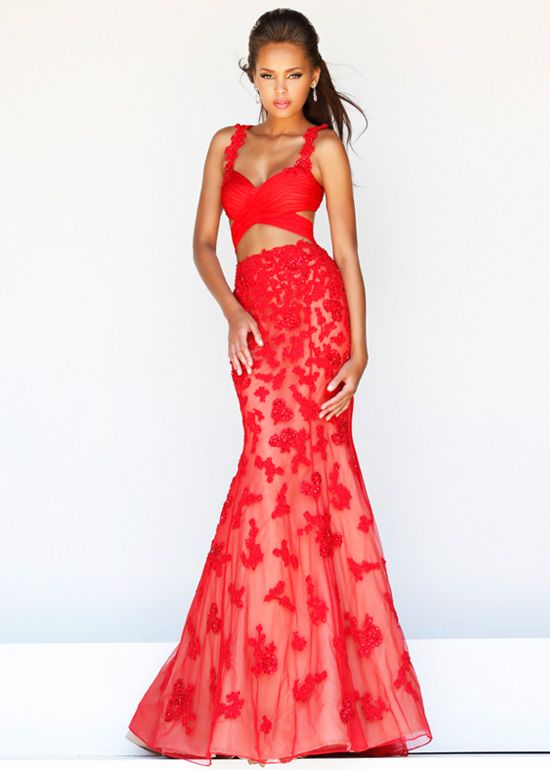 Red Nude Floral Appliques Lace Cutout Long Evening Gown 2015