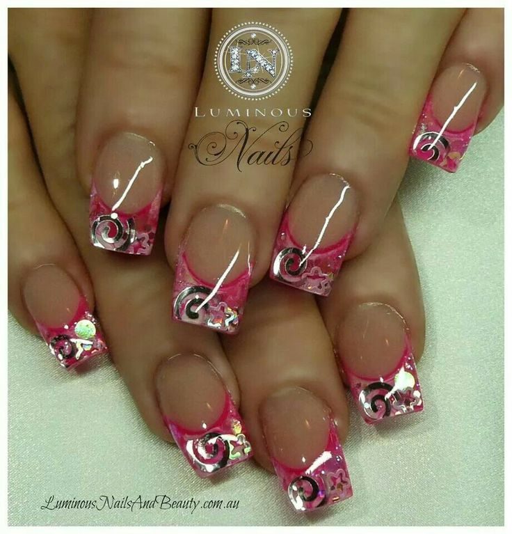 933 best nails 3 images on pinterest nail ideas nail arts and luminous nails hot pink white gel nails with swirls stars circles prinsesfo Images