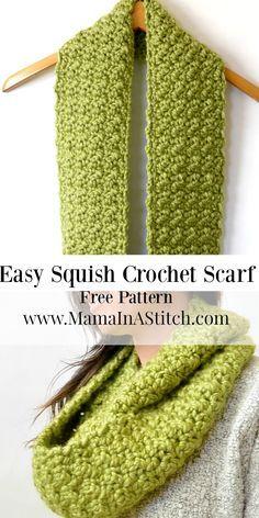Chunky, Squishy Crochet Infinito Scarf Padrão via @Mama Em um ponto de malha e Cr ...
