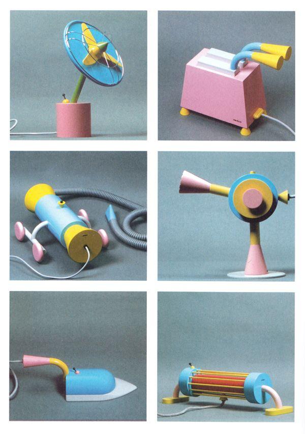 Michele De Lucchi, modelli di elettrodomestici Girmi, 1979  da Ritratti e Autoritratti di design, Andrea Branzi