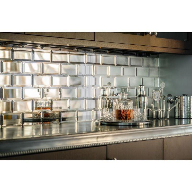 Silver Mirror Beveled Subway Tile Backsplash Mirror