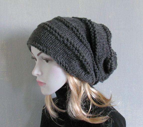 Slouchy Hat Slouchy Beanie Hand Knit Women Winter Beanie Hat Black Beanie Oversized Chunky Knit Hat