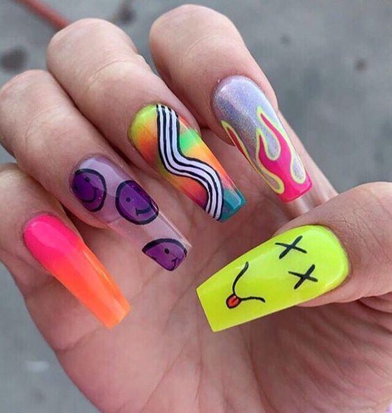 Más ideas de uñas decoradas en Trucos Trucos #Nails #Uñas #Manicura Edgy Nails, Aycrlic Nails, Swag Nails, Toenails, Summer Acrylic Nails, Best Acrylic Nails, Long Nail Designs, Acrylic Nail Designs, Grunge Tattoo
