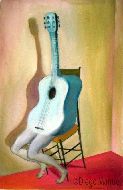 guitarra 2acrylic on canvas, 44 x 65cm. , 2003. Painting for sale of the Serie Music by artist Diego Manuel. Cuadro en venta de la Serie Musica