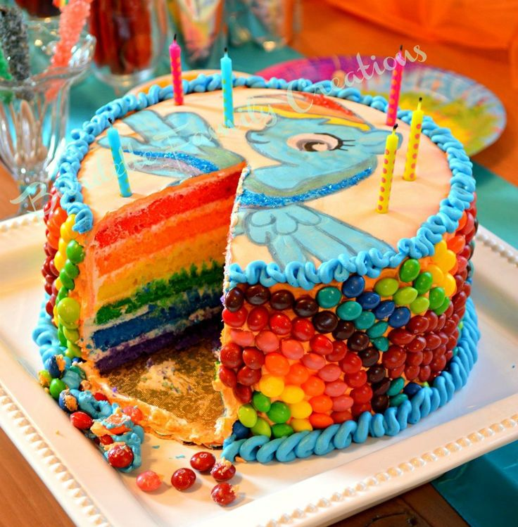 My Little Pony Birthday Party - Rainbow Dash cake! Where was this cake when I was 9??? @Jess Pearl Liu driscoll (use Skittles for the rainbow on the sides :))
