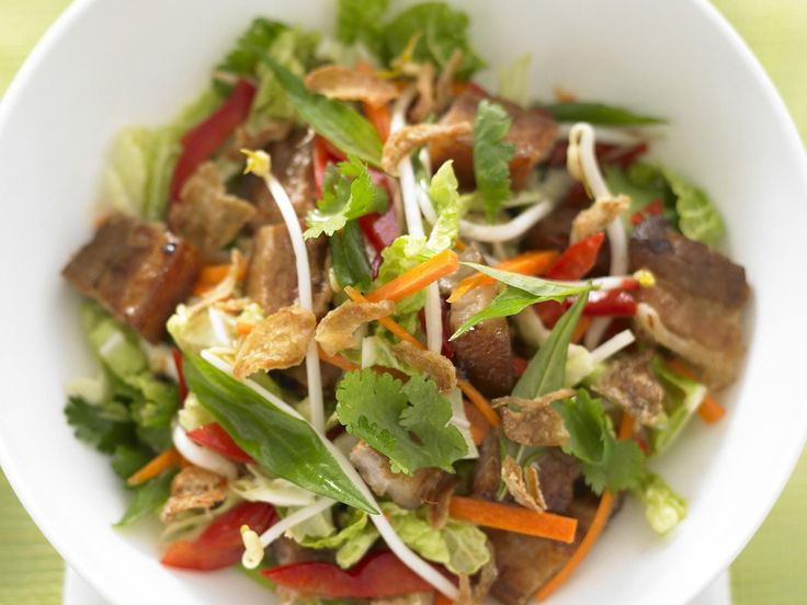 Delicious crispy pork belly is ideal paired with fresh wombok, this crunchy salad is the perfect complement to the sweetly rich meat. #salad #recipes #recipe_ideas
